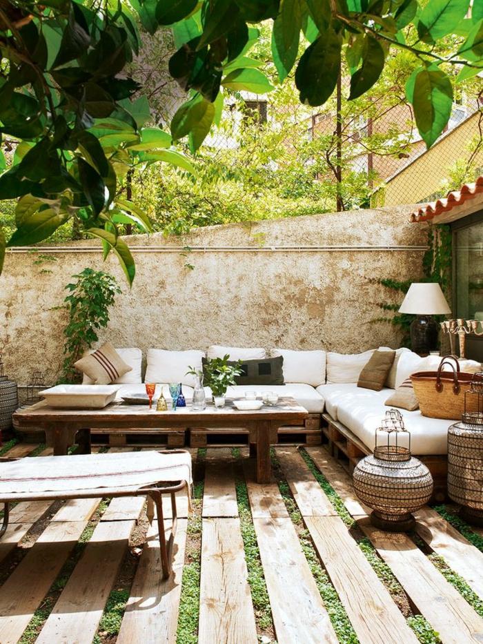 Veranda-Hof-Garten-rustikale-Gartenmöbel-Paletten