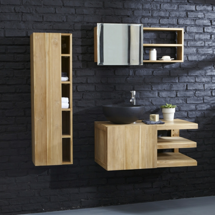 Wandschrank Für Badezimmer Dunkel Ziegelwand