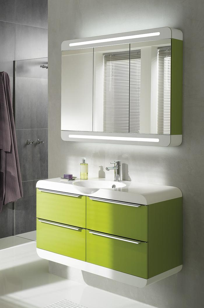 Wandschrank-für-Badezimmer-grün-beleuchtung-waschbecken-modern