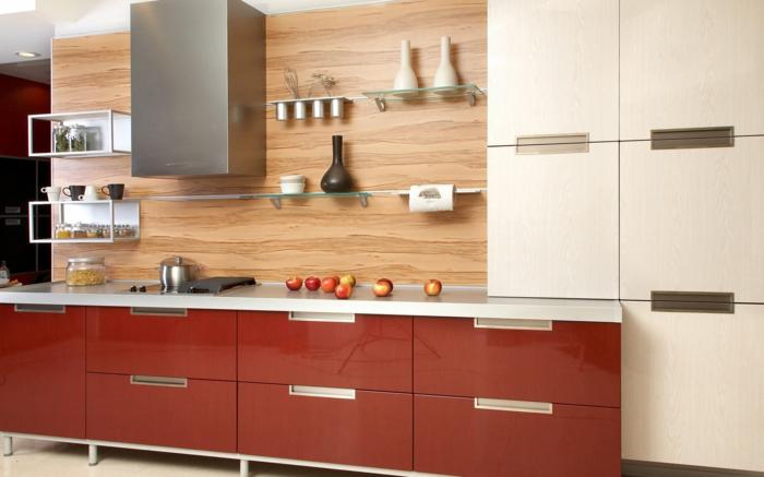 wandschrank für küche: glanzvolle modelle und muster - archzine.net - Wandpaneele Küche Holzoptik