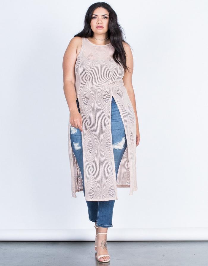 ausgefallene mode für große größen, sommermode damen, jeans in kombination mit langer tunika