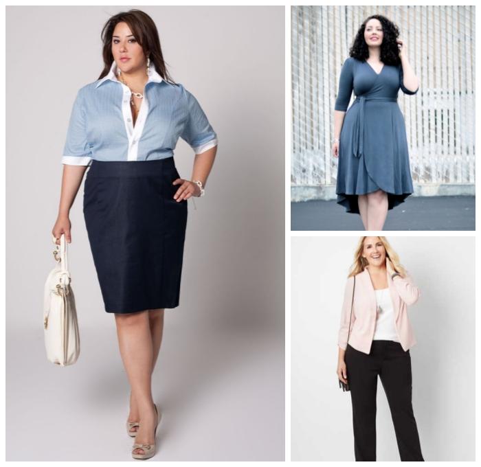 ausgefallene mode für mollige damen, gerader rock, hema sin blau und weiß, business mode damen