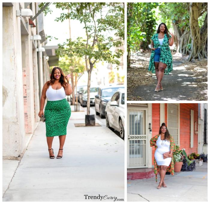 ausgefallene mode für mollige damen, weiße bluse, grüneer rock mit tiger muster, sommeroutfits frauen