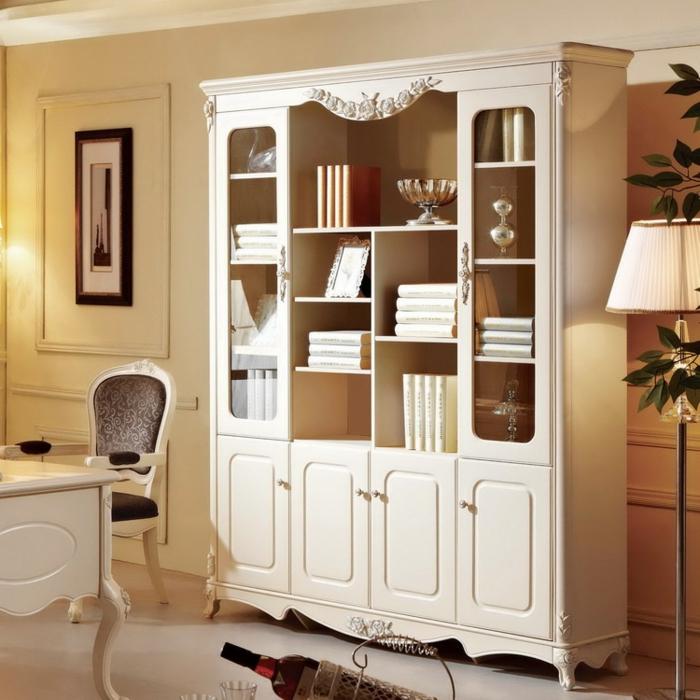 bücherregal-in-weiß-retro-modell-im-gemütlichen-wohnzimmer