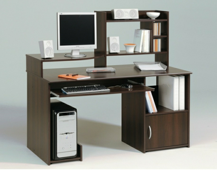 Computer Schreibtisch Holz : Inspirierende Fotos Von Schreibtisch Mit Regal