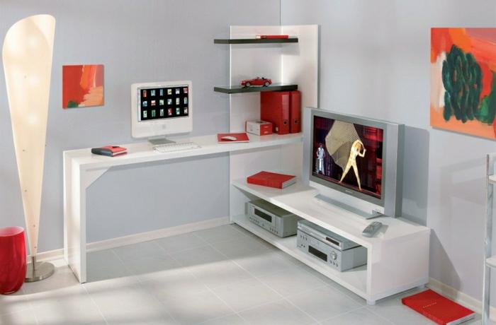 büromöbel-kreative-Komposition-Schreibtisch-mit-Regal-weiß-rote-Elemente-Mac-Computer-Bild-Fernseher-Unterschrank