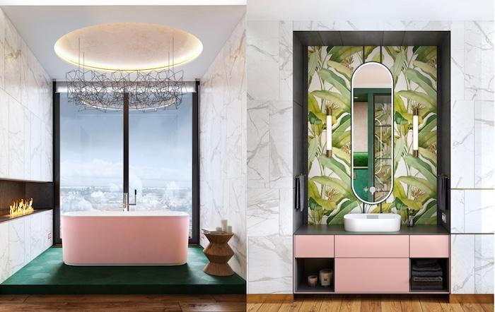 Badezimmer modern gestalten, Fliesen mit Blätter Motiv, rosafarbene Badewanne aus Keramik
