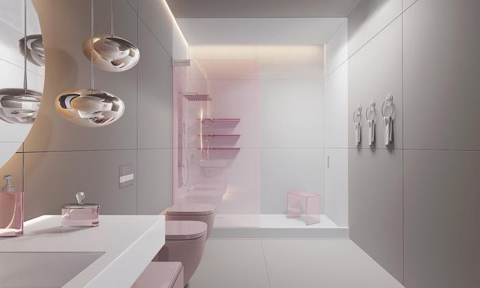 Badezimmer minimalistisch gestalten, Badeinrichtung in Weiß und Rosa, runde Formen