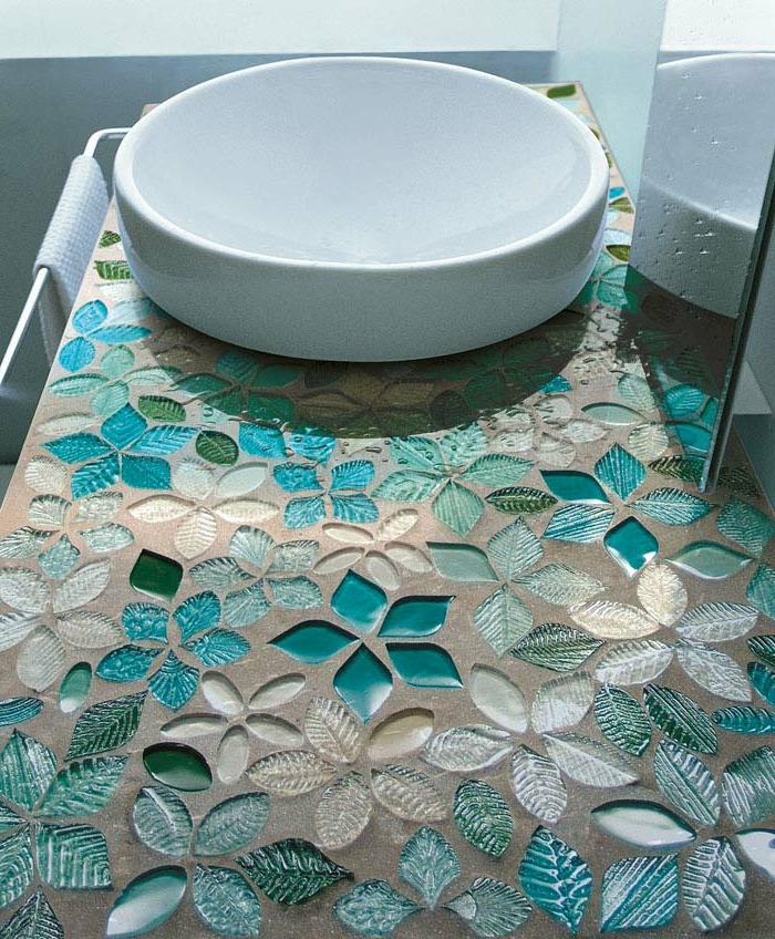 Badezimmer Mit Mosaik Blaue Farbe