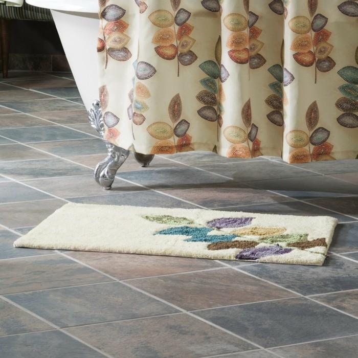 badezimmer -teppich-mosaik-leaves