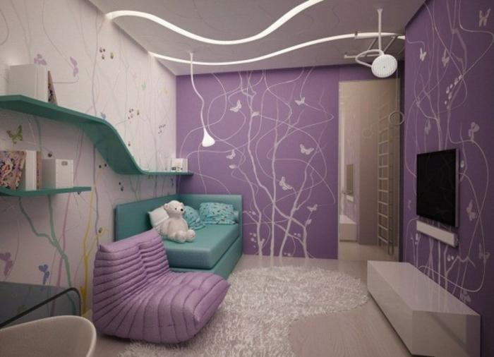 barbie- haus-wohnzimmer-tapeten-lila