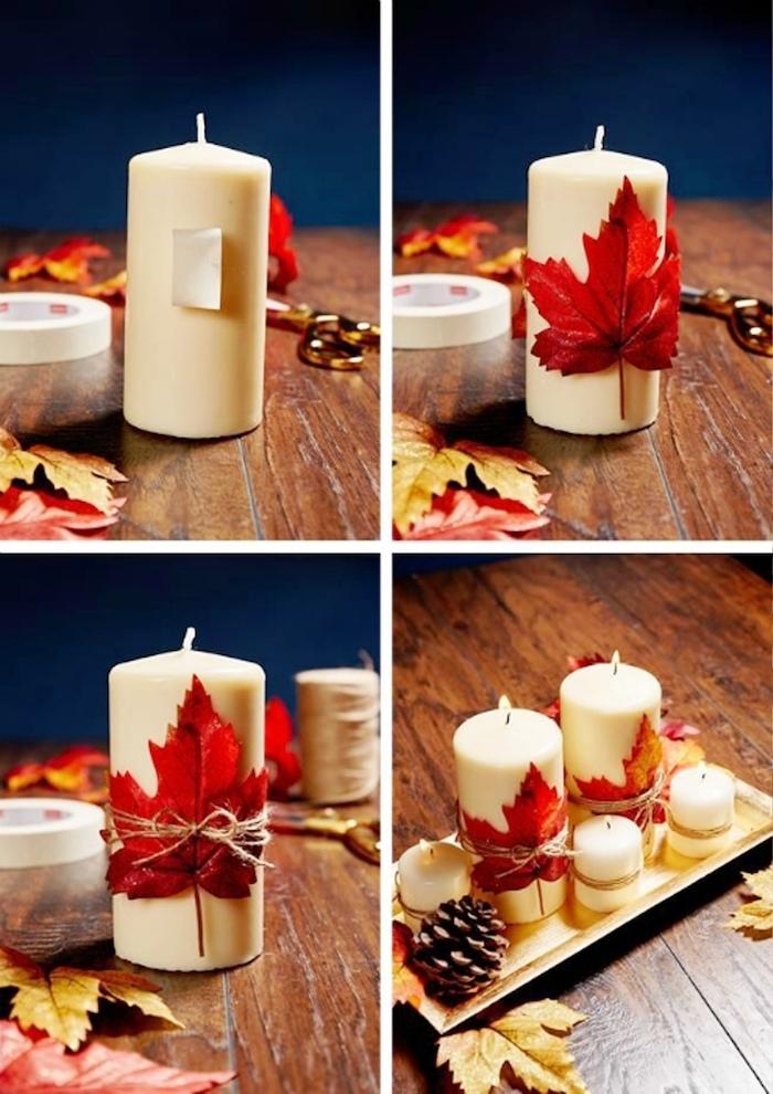 Weiße Kerzen mit Herbstblättern verzieren, Idee für schöne herbstliche Tischdekoration
