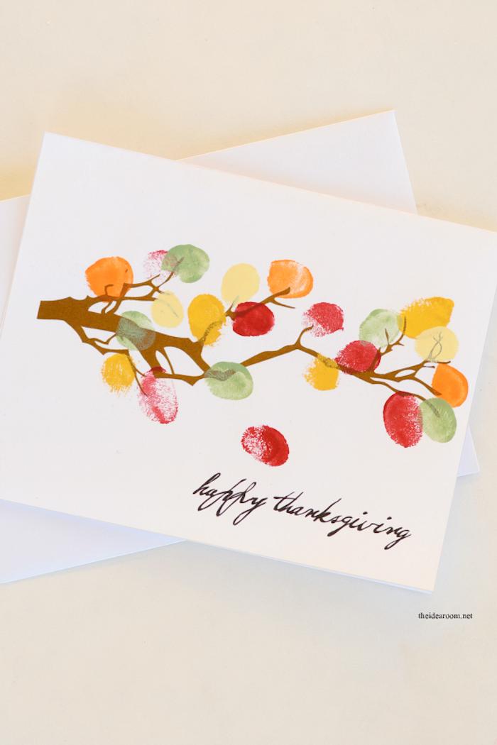 Herbstbaum malen mit Fingerabdrücken für Blätter, Karten mit Kindern basteln
