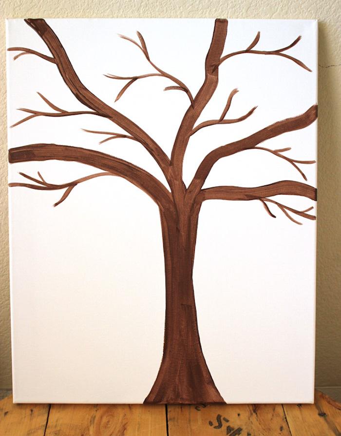 Herbstbasteln mit Kindern, Baum auf Leinwand malen, bunte Knöpfe für Blätter kleben