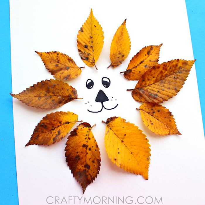 Ideen für Herbstbasteln mit Kindern, DIY Löwe mit Herbstblättern für Mähne