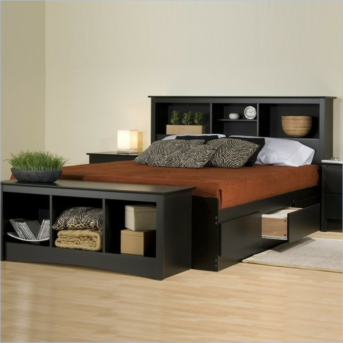 bett mit regal und schubladen. Black Bedroom Furniture Sets. Home Design Ideas