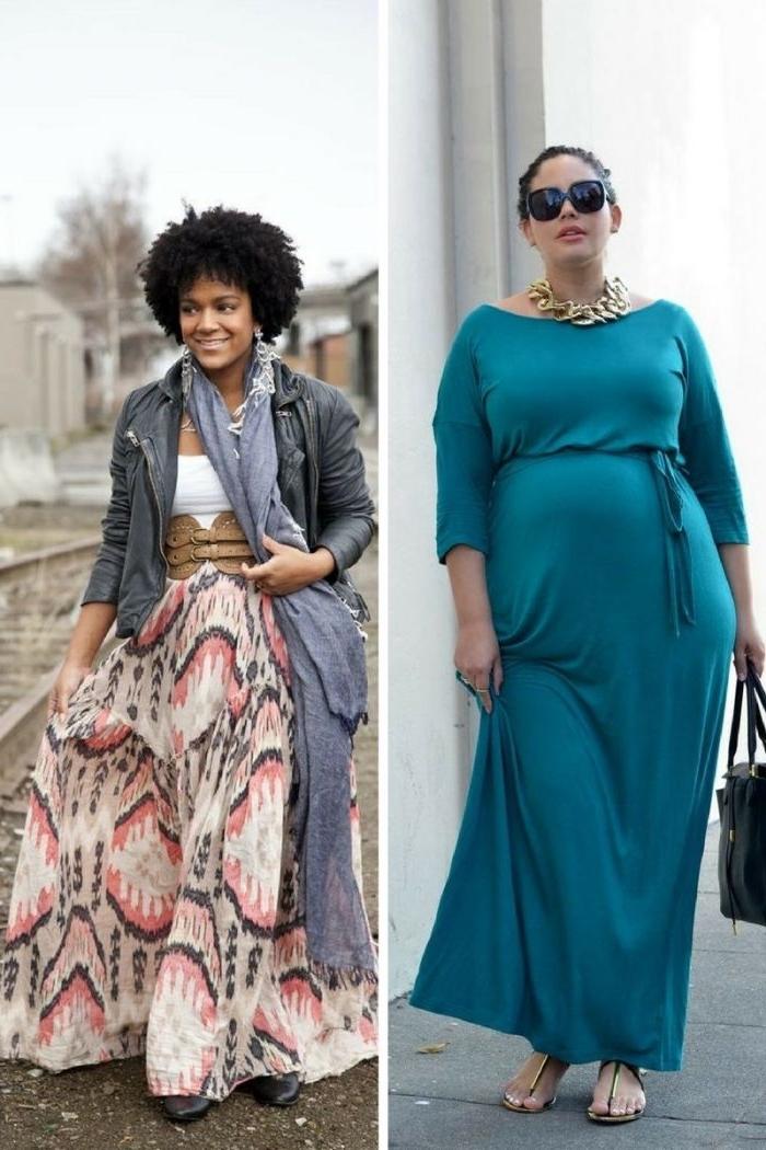 langes türkisfarbenes kleid mit ärmeln, bunter weiter rock, damenmode große größen, schall