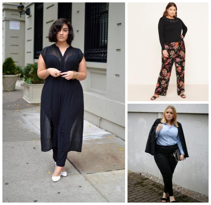 damenmode große größen, schwarze hose, langer tunika, bunte weite hose, schwarze bluse, hebst outfit ideen