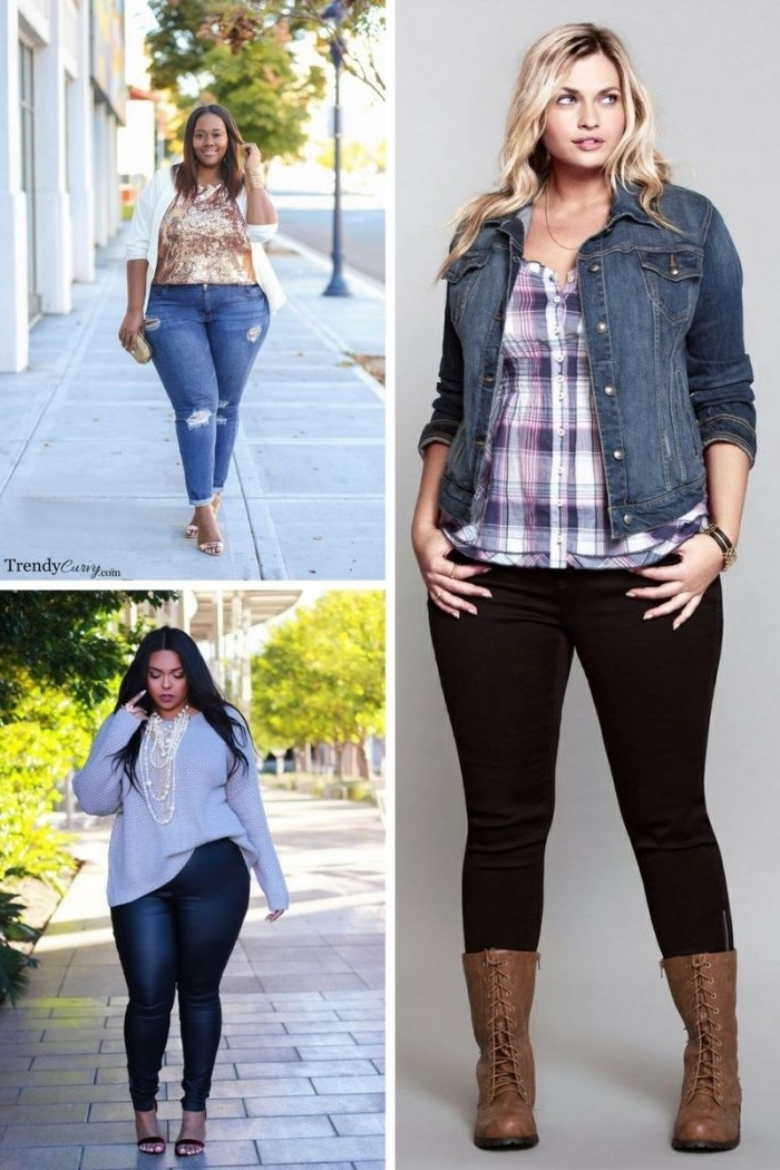 damenmode große größen, frühslingsmode frauen, schwarze jeans, kariertes hemd, jeanslacke
