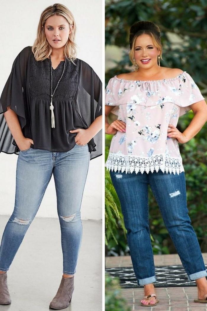 damenmode große größen, sommermode damen, helle jeans in kombination mit grauer bluse