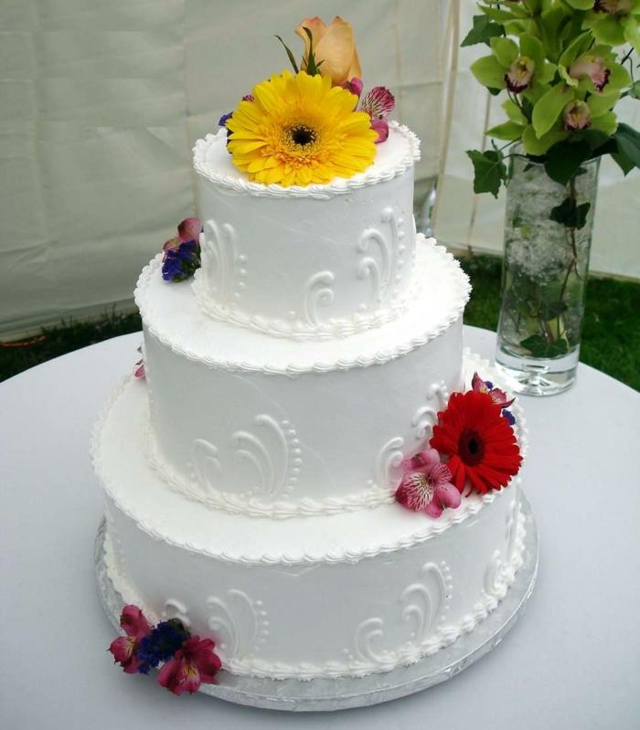 dekoideen-für-hochzeit-weiße-torte-bunte-farben