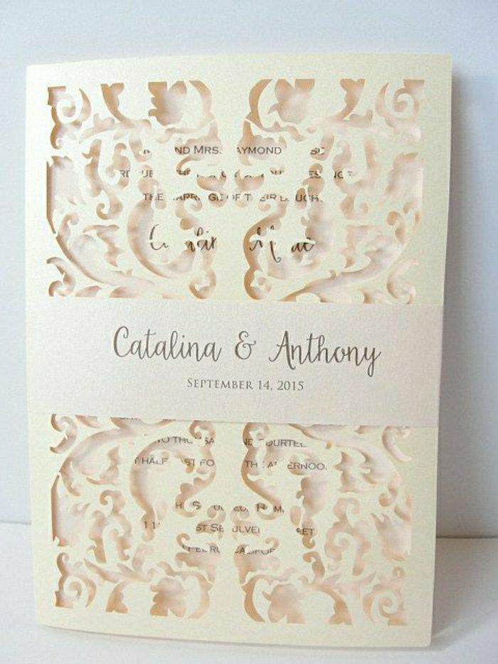 Außergewöhnlich Einladung Hochzeit Creme Farbe Elegantes Design Exquisit Fein.