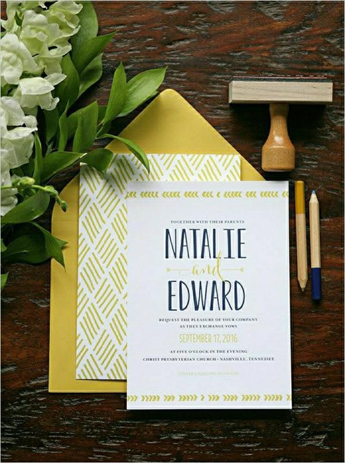 einladung-hochzeit-romantisch-gelb-weiß-einfaches-Design-Blumen