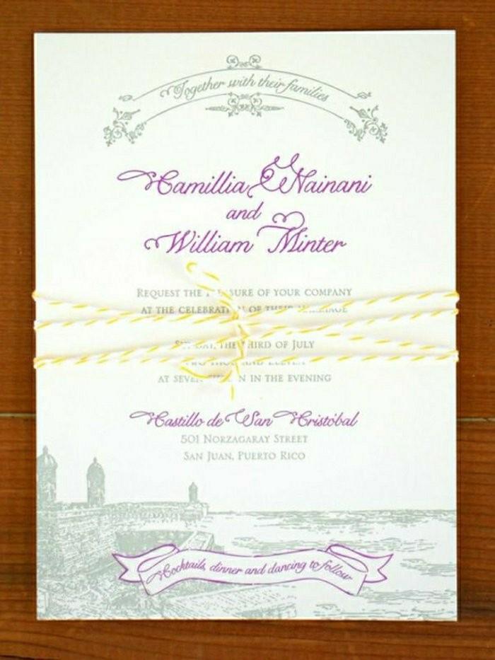einladungskarten-selbst-gestalten-lustige-Schrift-lila-Farbe-gelbe-Schnur
