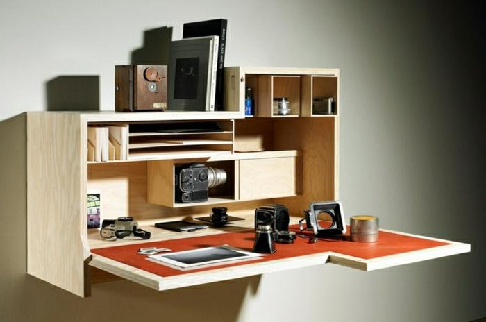 einmaliges-Interieur-Schreibtisch-Regale-Holz-Cameras
