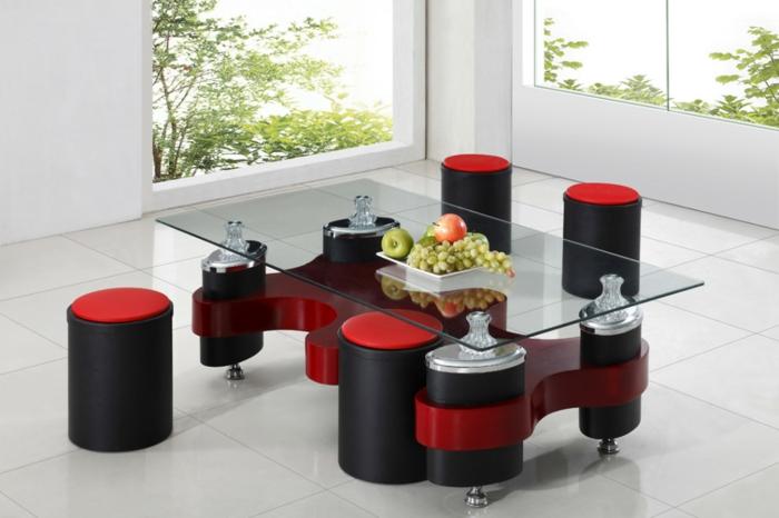 elegante-Möbel-schwarz-rot-Couchtisch-mit-Hocker-gläserne-Tischplatte-Früchte