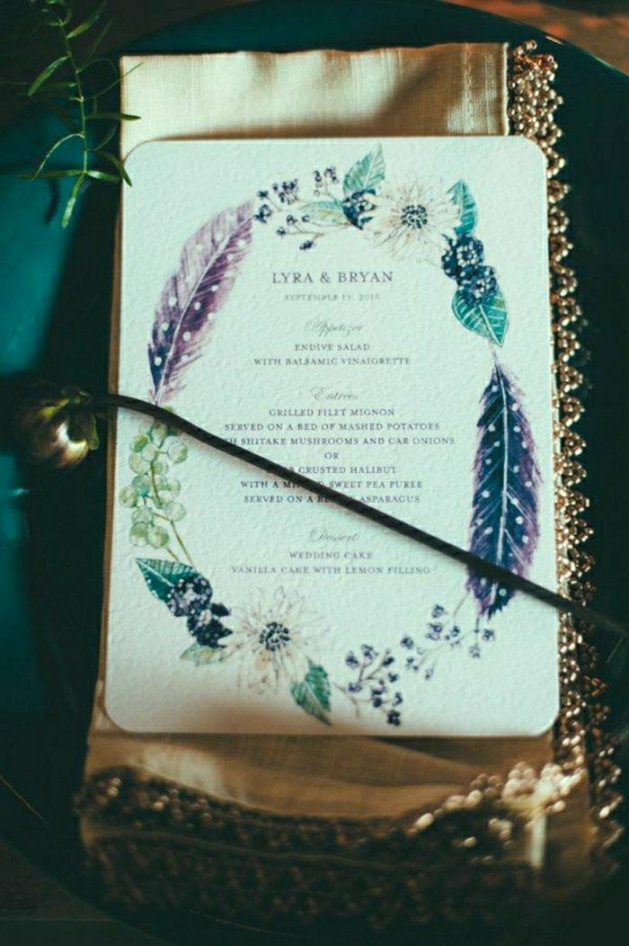 fantastische-hochzeitseinladung-romantische-Schrift-Dekoration-Blumen-Federn-Zeichnungen-nostalgisch