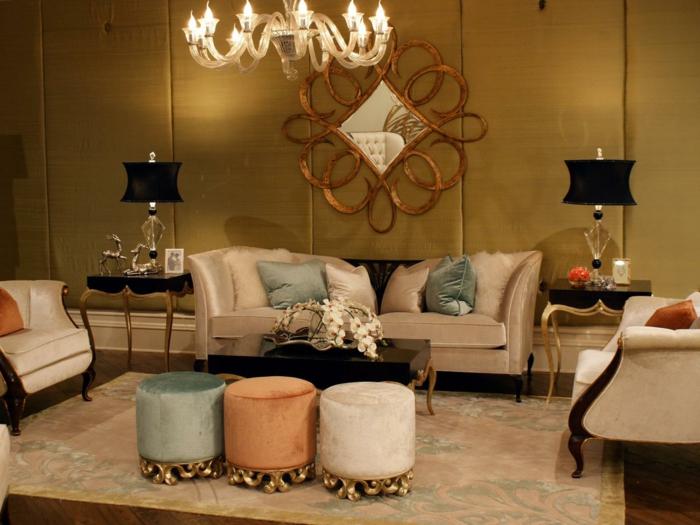 schöne wohnzimmer farbe:farbe-gold-in-der-einrichtung-einmaliger-lüster-im-wohnzimmer