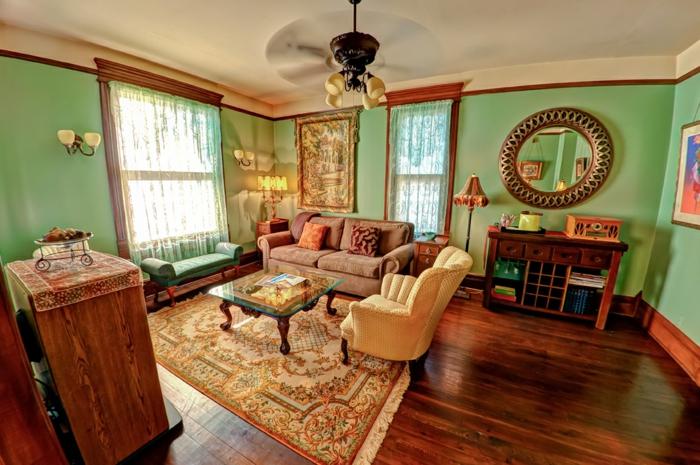 schöne wohnzimmer farbe:Die goldene Farbe kann mit grünen Farbschemen zusammengebracht werden