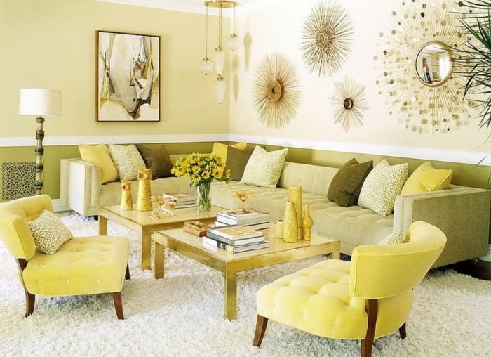 schöne wohnzimmer farbe:interessantes und elegantes wohnzimmer -goldene farbe
