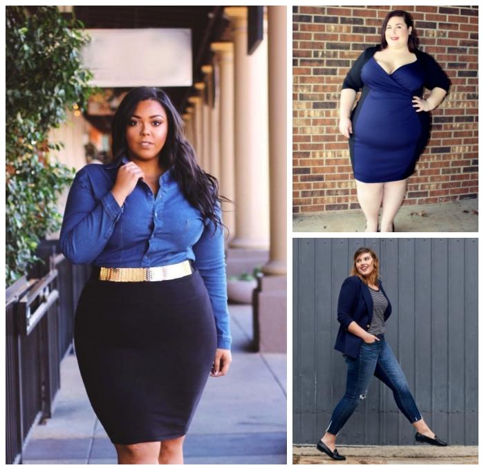 festliche mode große größen, blaues jeanshemd, gerader schwarzer rock, goldener gürtel, dunkelblaues kleid