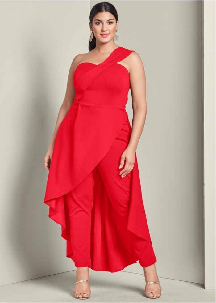 abendkleider für mollige, festliche kleider für große größen, rote hemdhose mit weitem rock, silberne schuhe
