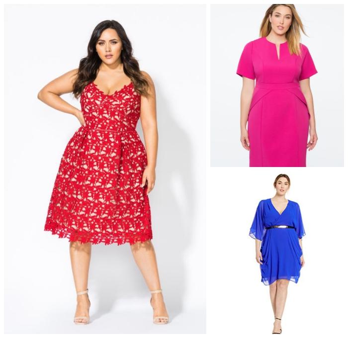 festliche kleider für mollige, knielanges kleid in rosa und beige, sommerkleider für große größen