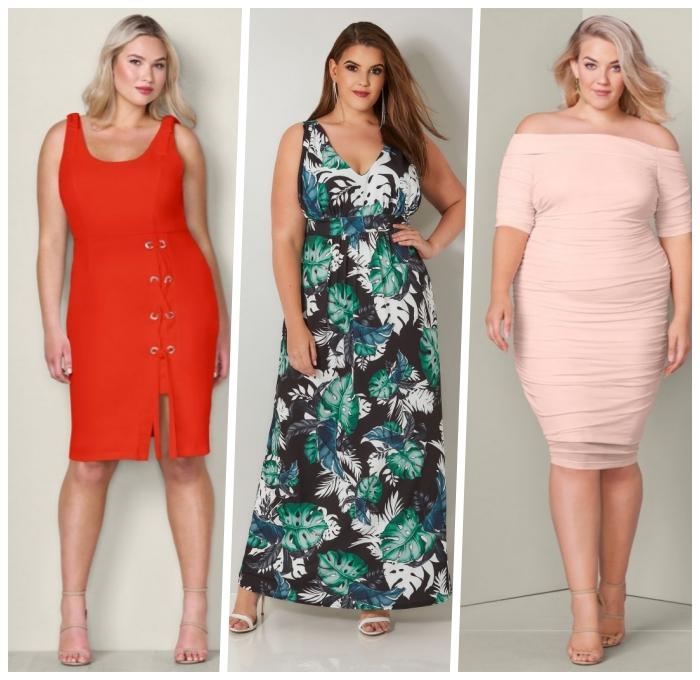 festliche kleider für mollige, langes kleid mit blätter motiv, sommekleider ideen, hellrosa kleid mit ärmeln