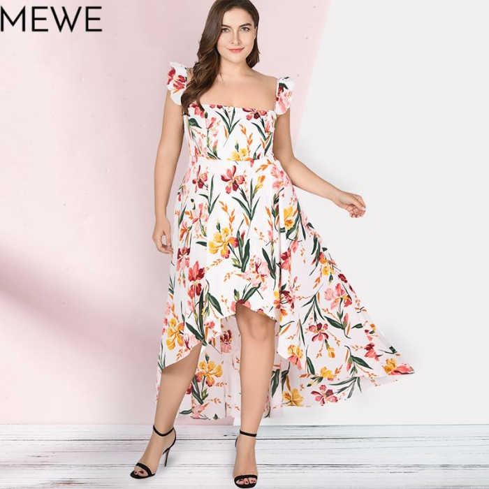 hochzeitsgast outfit ideen, weißes kleid mit floralem muster, festliche kleider für mollige
