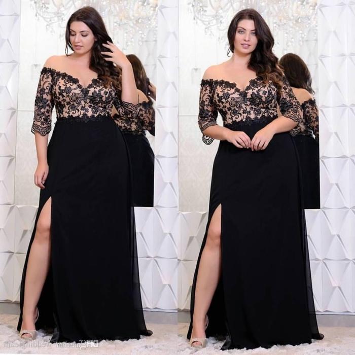 langes schwarzes kleid mit ärmeln aus spitze, festliche kleider für mollige, abbibalkleid ideen