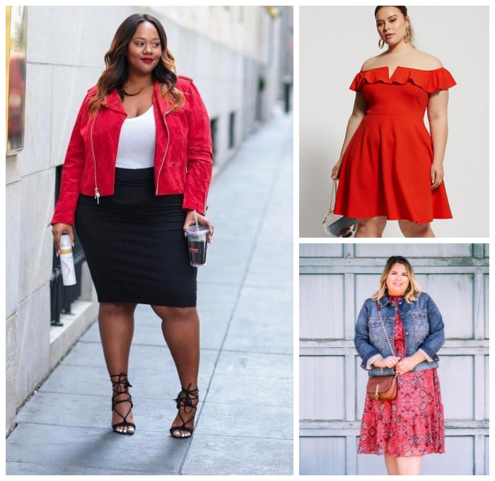 festliche mode große damen, schwarzer rock, weiße bluse, rote jacke, sommeroutfits für frauen