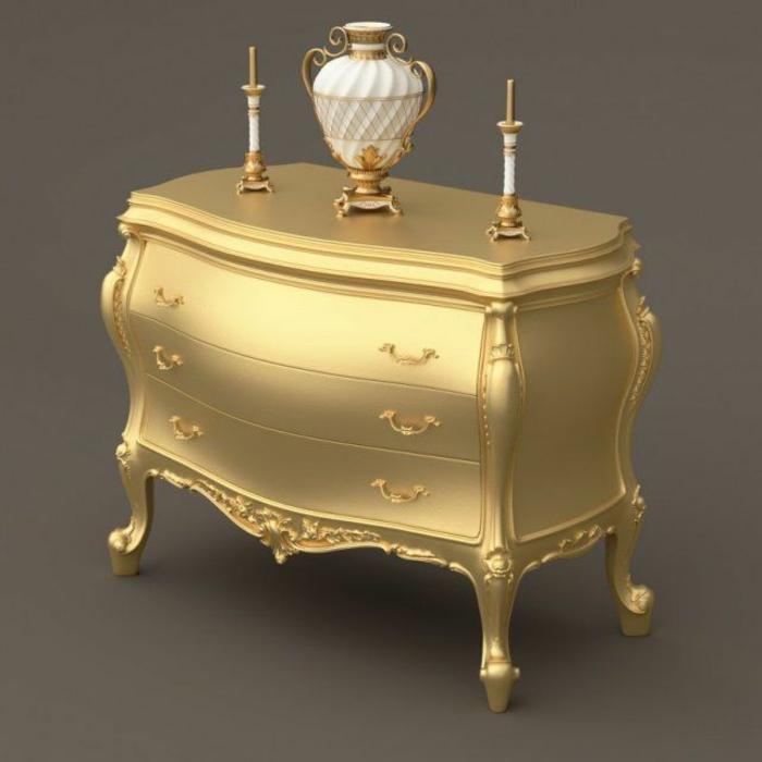 goldene-Barock-Kommode-Kerzenhalter-antike-Vase