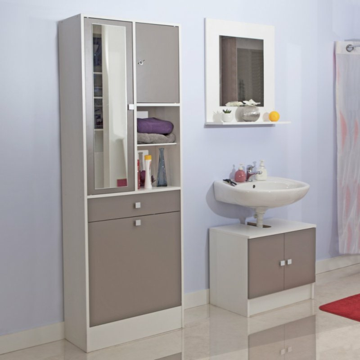 grau-weiß-Wandschrank-für-Badezimmer