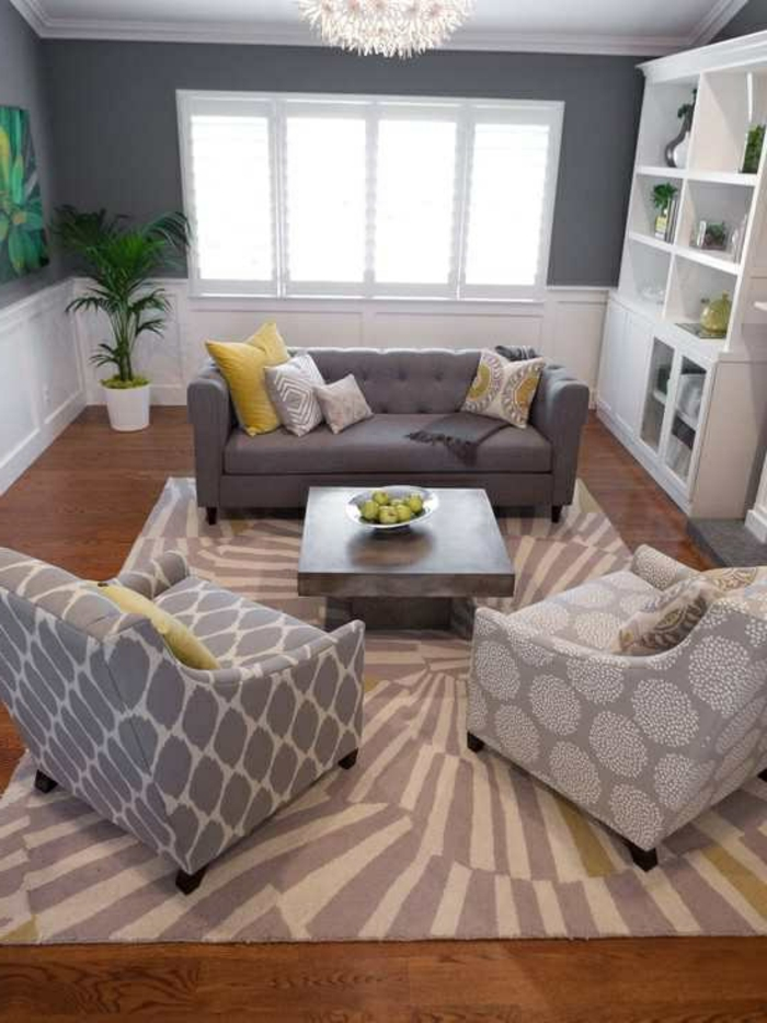 Graues Interieur Kleine Couch Textil Elegante Sessel