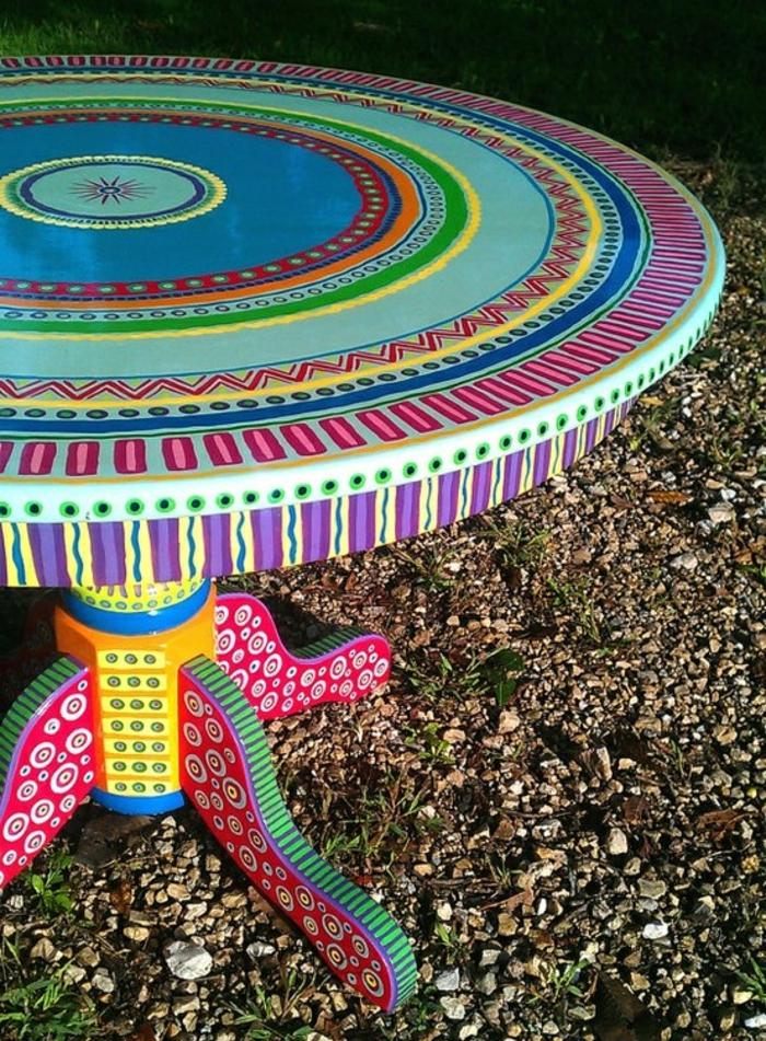 handgemalter-Tisch-runde-Tischplatte-art