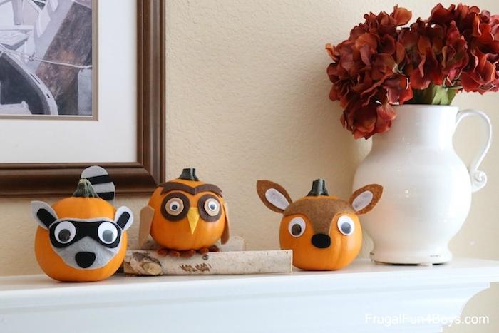 Herbstliche Deko mit Kindern basteln, Reh Eule und und Waschbär aus Kürbissen basteln, mit Filz verzieren