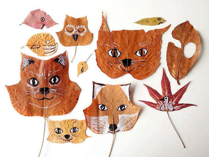 Süße Tiere auf Herbstblätter zeichnen, Füchse Katzen Vögel und Wale, Idee für Herbstbasteln mit Kindern