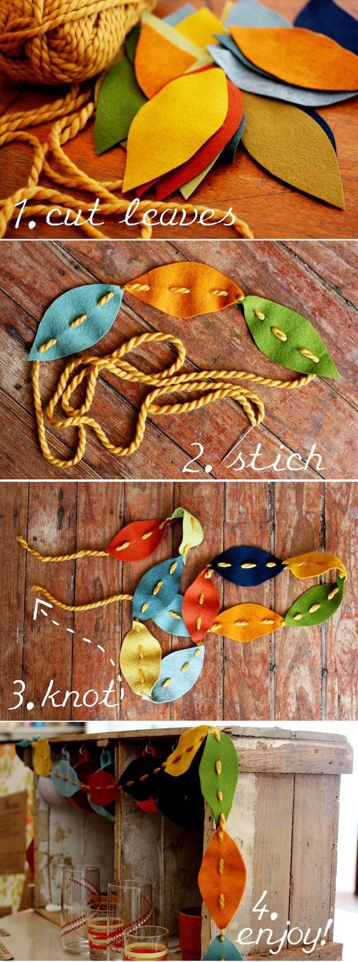 Bunte Herbstblätter aus Filz ausschneiden, herbstliche Girlande basteln mit Kindern