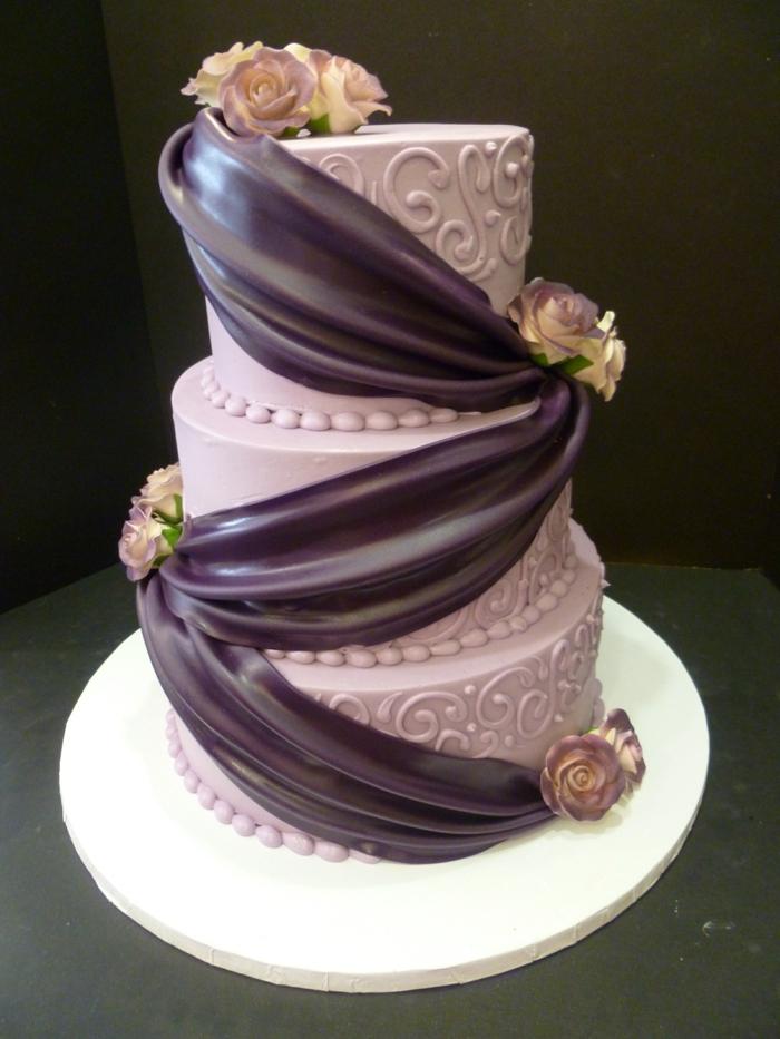 hochzeit torte - wunderschönes lila modell
