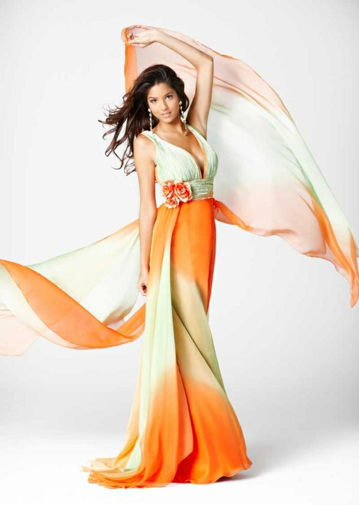kleid-in-orange-langes-design-wunderschönes-aussehen